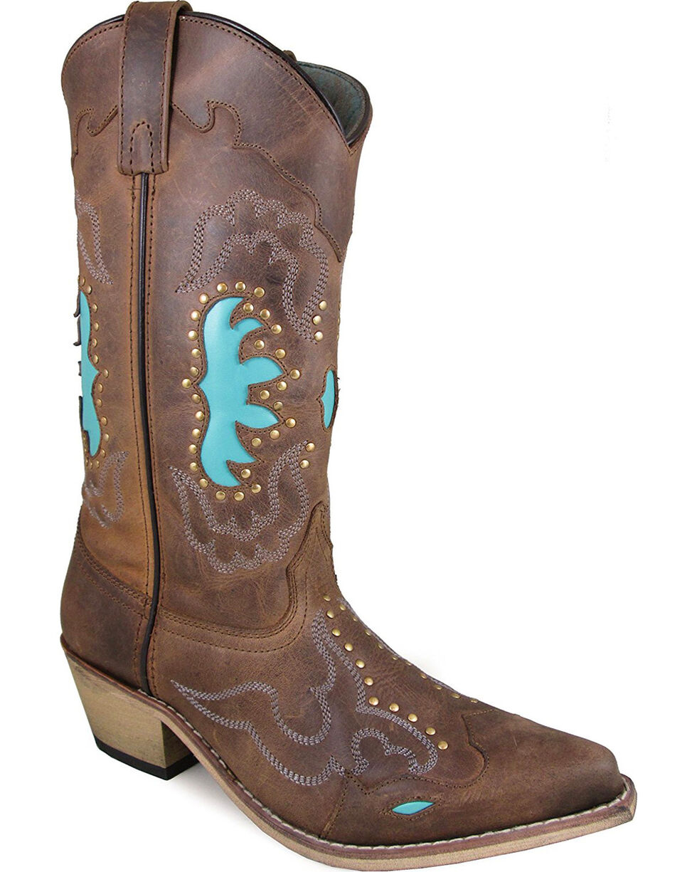 Smoky Mountain Women's Brown Moon Bay Studded Boots - Snip Toe , Brown, hi-res