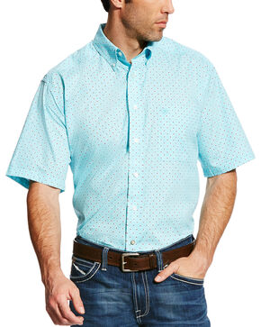 Ariat Men's Teal Geno Print Short Sleeve Shirt , Teal, hi-res