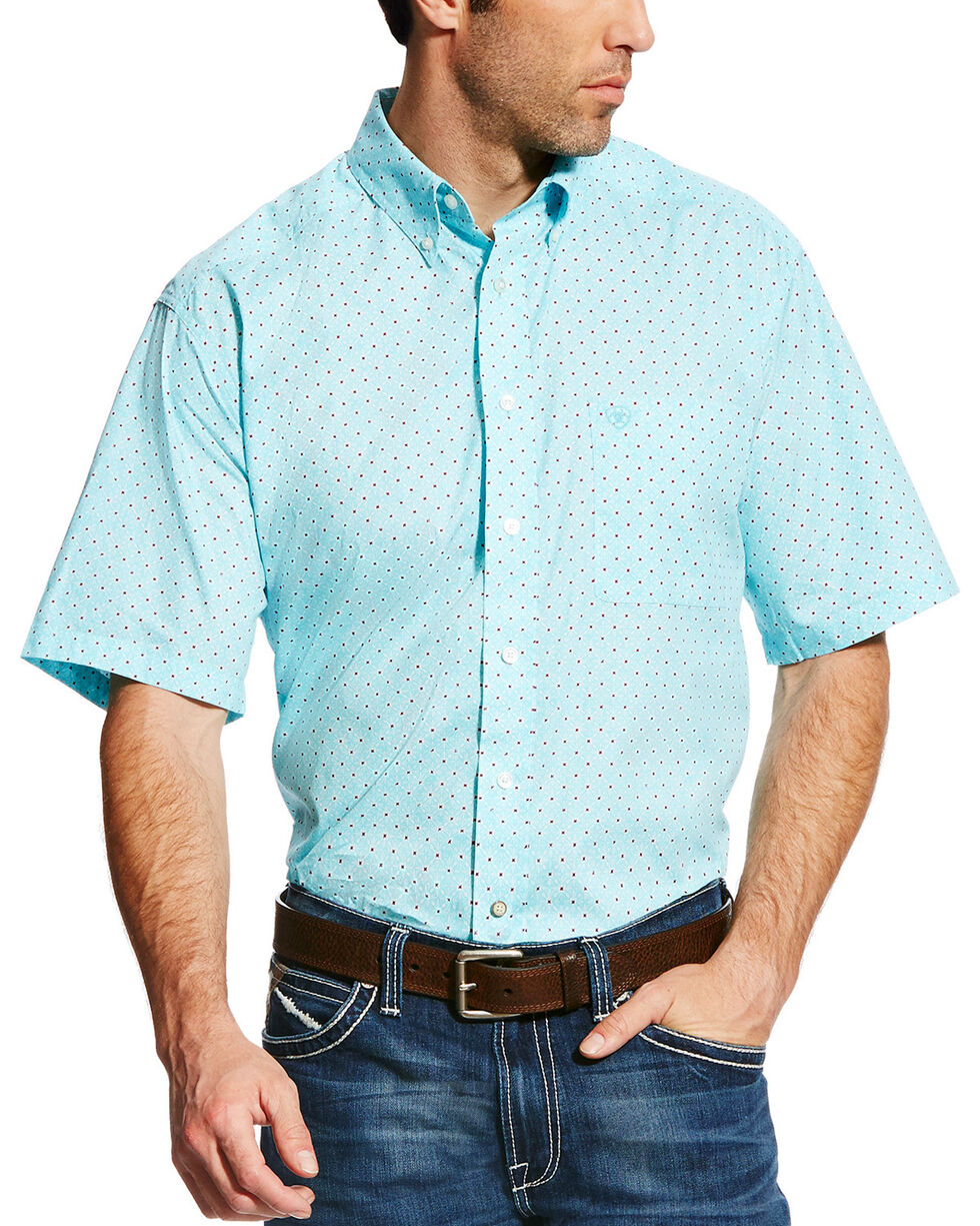 Ariat Men's Teal Geno Print Short Sleeve Shirt , Teal, hi-res