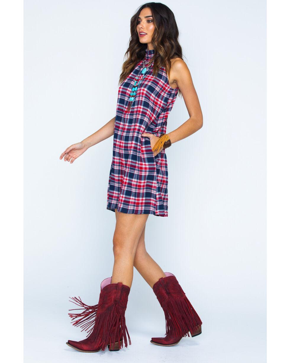Given Kale Women's Plaid High Neck Dress , Indigo, hi-res