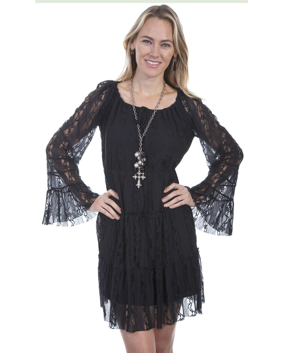 Scully Women's Long Sleeve Lace Tiered Dress, Black, hi-res