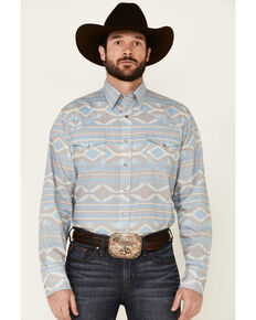 West Made Men's Faded Aztec Print Long Sleeve Snap Western Shirt , Blue, hi-res