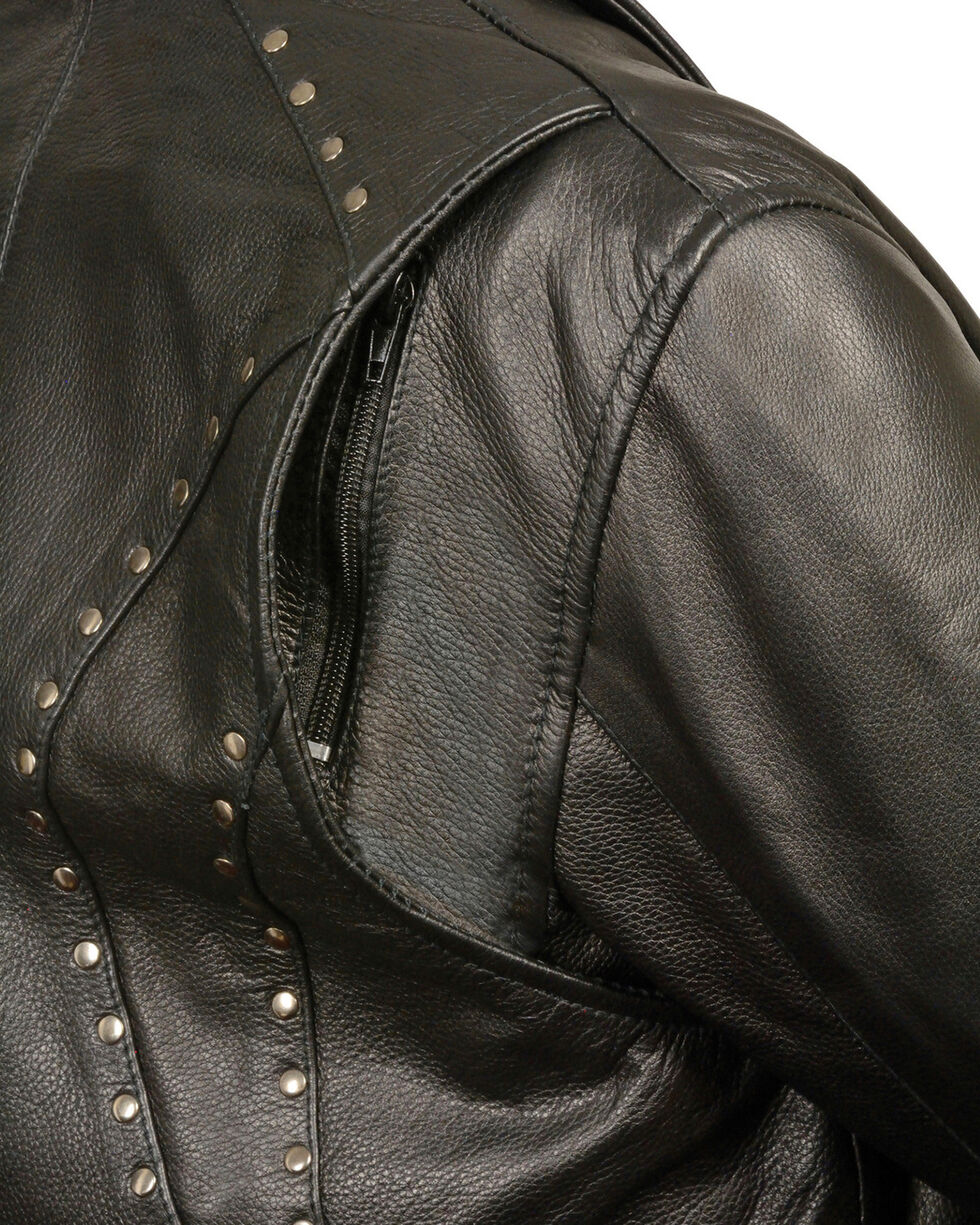 Milwaukee Leather Women's Classic Studded Motorcycle Jacket, Black, hi-res