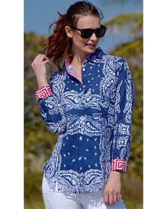 Dizzie Lizzie Women's Sun Valley Fringe Shirt , Blue, hi-res