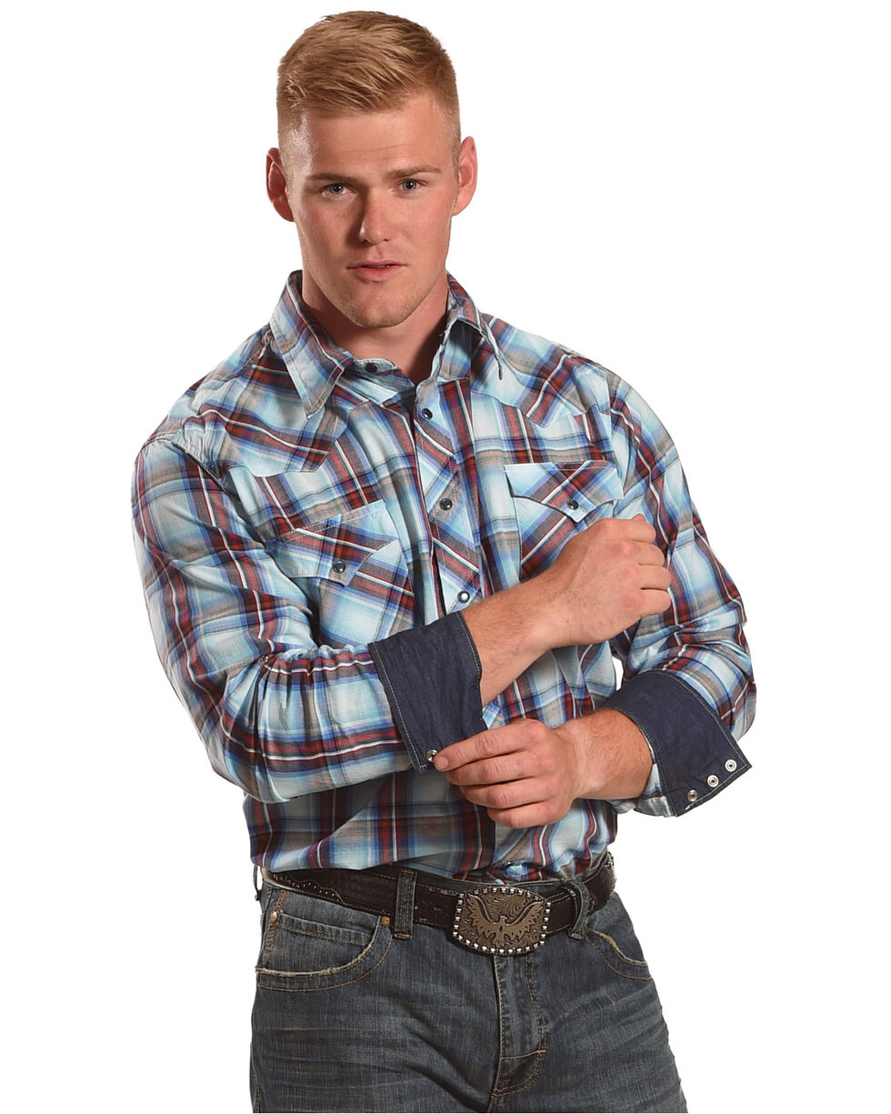 Roper Men's Blue Large Plaid Western Shirt , Blue, hi-res
