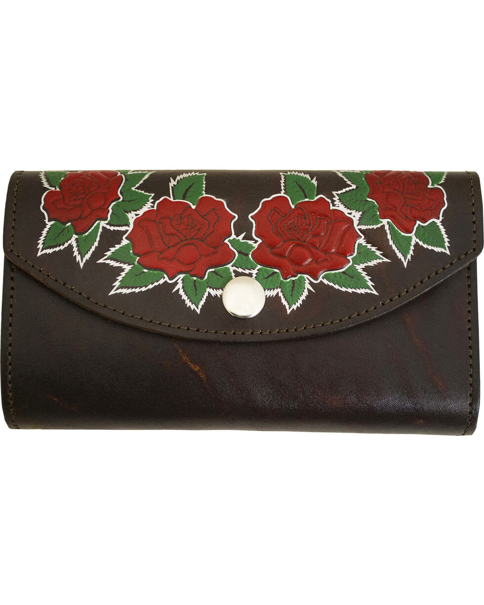 Western Express Women's Rose Brown Leather Organizer Wallet, Brown, hi-res