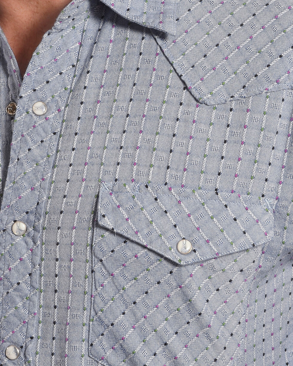 Resistol Double R Men's Kingston Long Sleeve Snap Shirt, Blue, hi-res