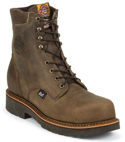 "Justin Men's J-Max 8"" Blueprint Bay Apache Lace-Up EH Work Boots - Composite Toe, Crazyhorse, hi-res"