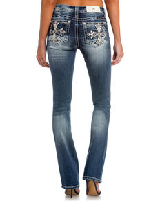 Miss Me Womens Main Stage Mid-Rise Slim Boot Cut Jeans, Indigo, hi