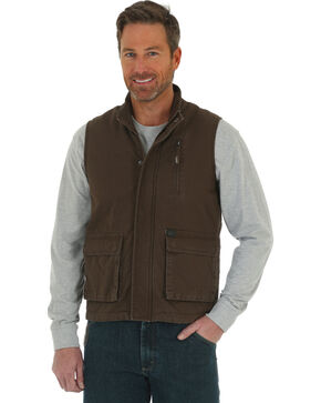 Wrangler Men's RIGGS Workwear Foreman Vest - Big & Tall, Brown, hi-res