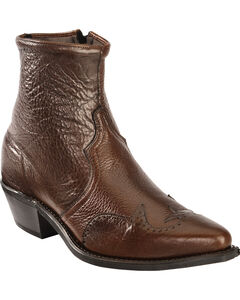 Abilene Western Wingtip Zipper Boots, Chocolate, hi-res