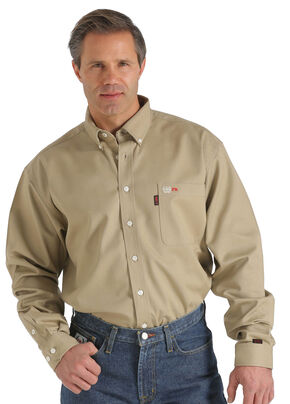 Cinch WRX Flame-Resistant Solid Khaki Shirt, Khaki, hi-res