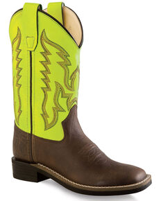 Old West Girls' Yellow Western Boots - Wide Square Toe, Brown, hi-res