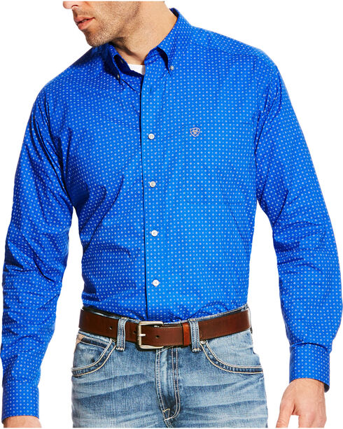 Ariat Men's Blue Boyd Printed Long Sleeve Western Shirt , Blue, hi-res