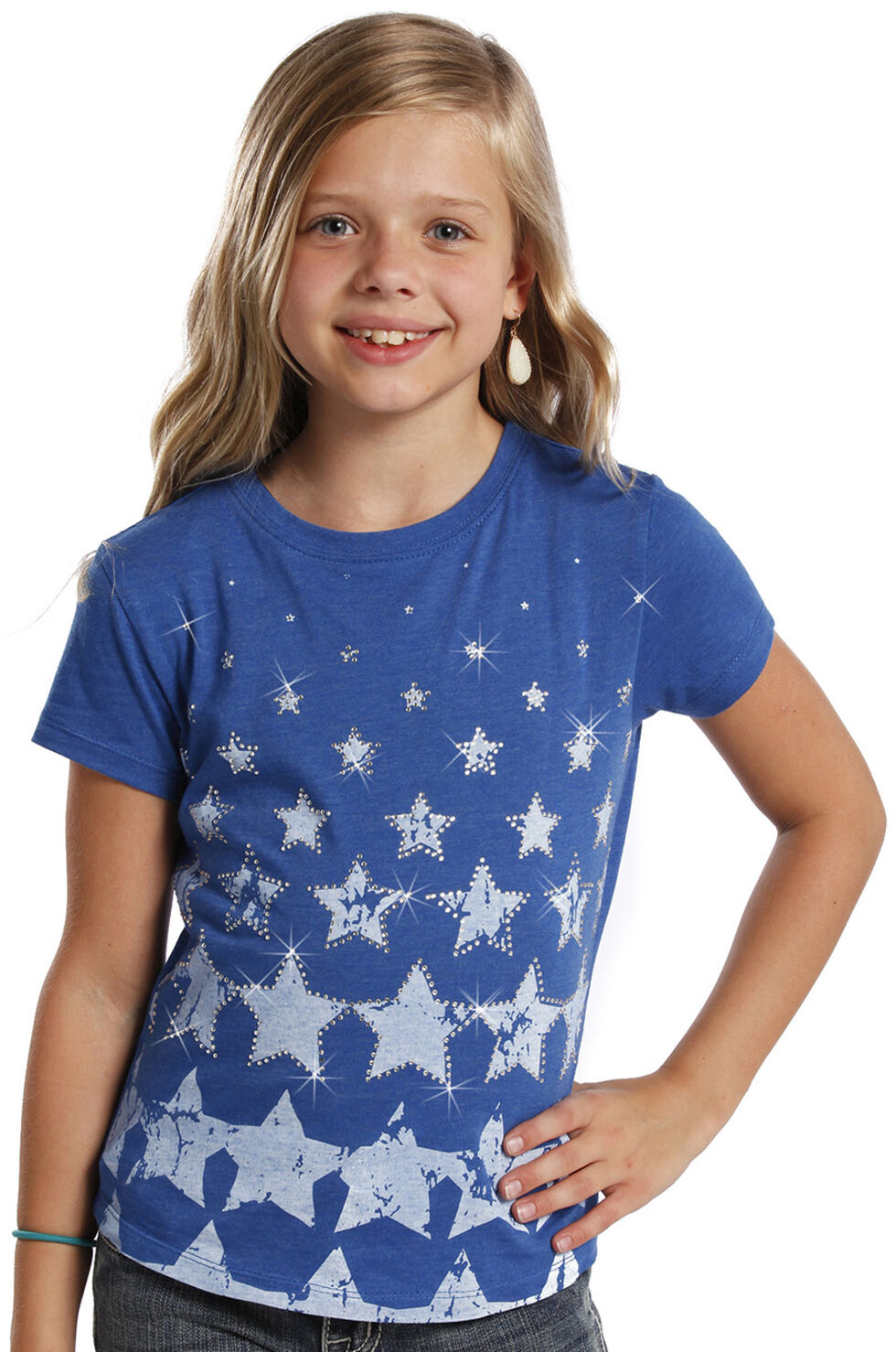 Rock and Roll Cowgirl Girls' Stars T-Shirt , Blue, hi-res