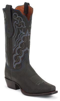Tony Lama Signature Series Kangaroo Cowboy Boots - Square Toe, Black, hi-res