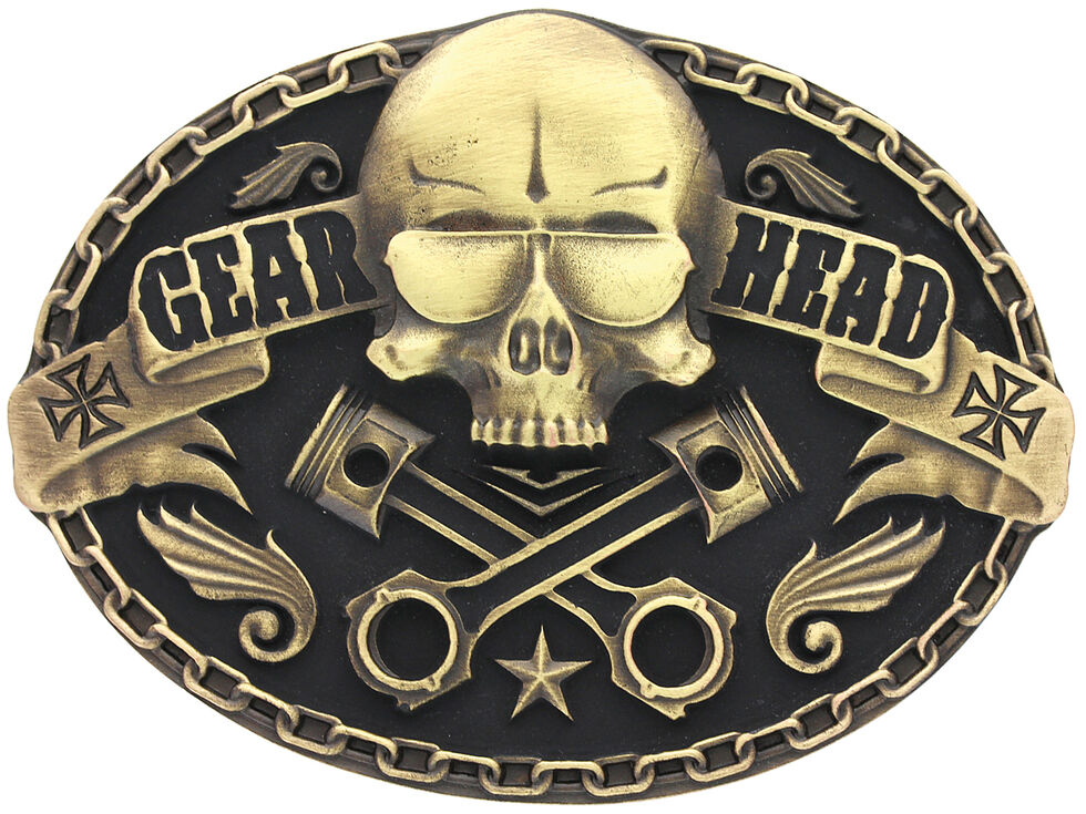 Montana Silversmiths Gearhead Heritage Attitude Belt Buckle, Gold, hi-res