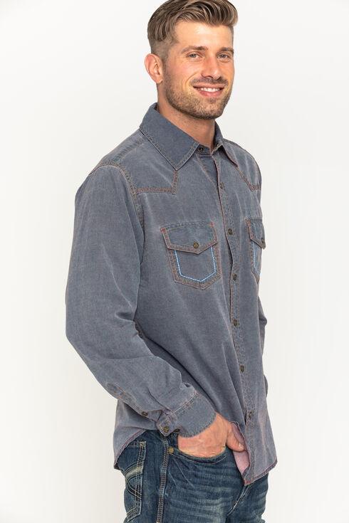 Ryan Michael Men's Navy Yarn Dye Patina Canvas Shirt , Navy, hi-res