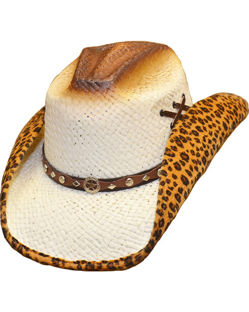 Western Express Women's Leopard Lined Straw Hat, White, hi-res