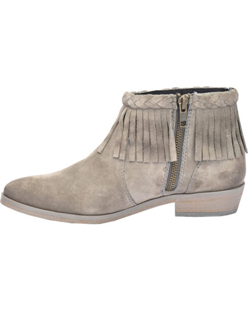 Corral Grey Suede Braided Fringe Short Boots - Round Toe, Grey, hi-res