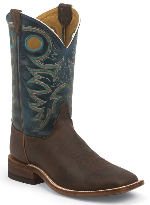 Justin Bent Rail Rough Rider Cowboy Boots - Square Toe, Brown, hi-res