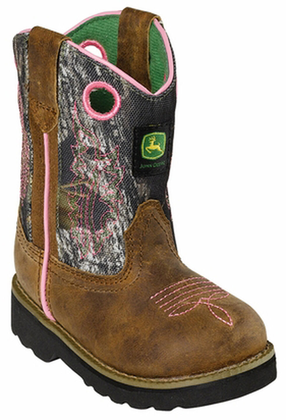 John Deere Toddler Girls' Johnny Popper Camo Western Boots - Square Toe, Camouflage, hi-res