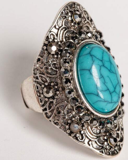 Shyanne Women's Turquoise Concho Ring , Silver, hi-res