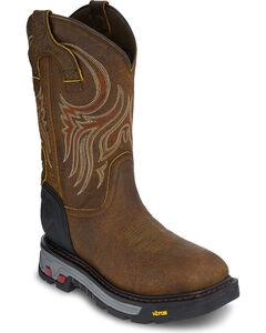 Justin Men's Mahogany Driscoll Waterproof Commander X5 Work Boots - Square Toe, Brown, hi-res