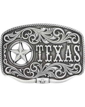 Montana Silversmiths Men's Texas Star Longhorn Attitude Buckle, Antique Silver, hi-res