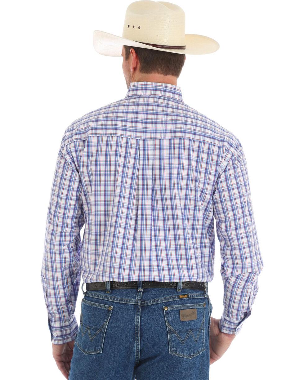 Wrangler George Strait Men's Plaid Long Sleeve Button Down Shirt, Blue, hi-res