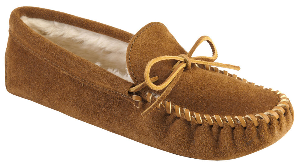 Men's Minnetonka Traditional Pile Line Softsole Moccasins, Brown, hi-res
