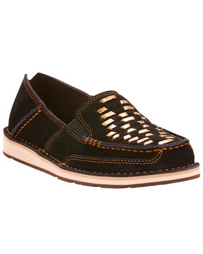 Ariat Women's Black Suede Cruise Weave Slip On Shoes - Moc Toe, Black, hi-res