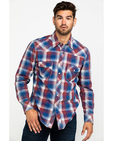 Rock & Roll Denim Men's Red Washed Plaid Long Sleeve Western Shirt , Red, hi-res