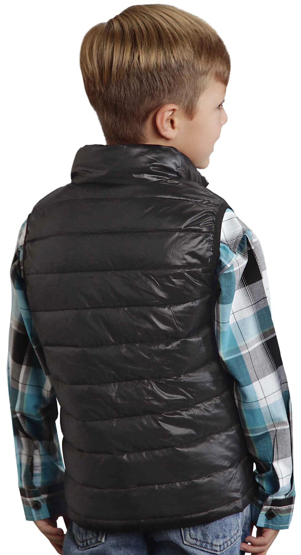 Roper Boy's Rangegear Crushable Black Vest, Black, hi-res