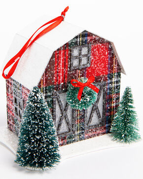 BB Ranch Tartan Plaid Barn Ornament , Red, hi-res