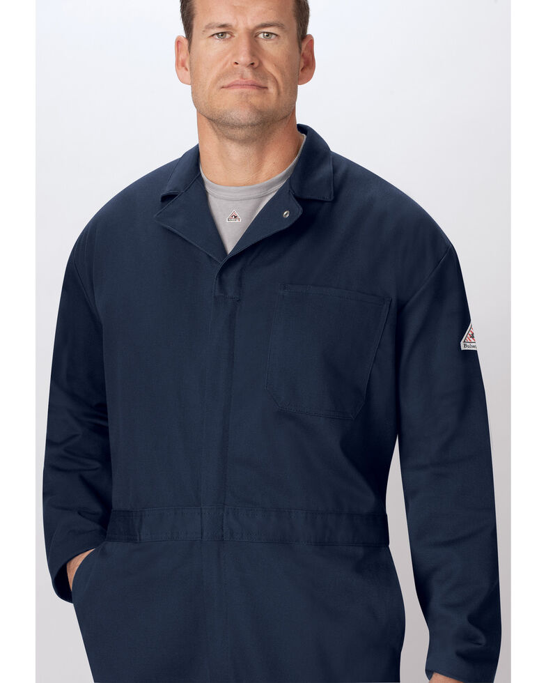 Bulwark Men's Navy Flame Resistant Excel Classic Coveralls, Navy, hi-res