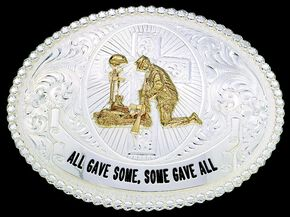 """Montana Silversmiths """"All Gave Some, Some Gave All"""" Scrolled Buckle, Silver, hi-res"""