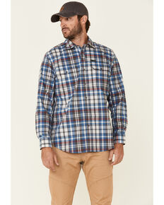 ATG™ by Wrangler Men's All Terrain Grey Plaid Pocket Utility Long Sleeve Western Flannel Shirt - Big & Tall, Grey, hi-res