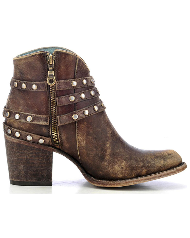 Corral Women's Studded Strap Booties - Round Toe, Brown, hi-res