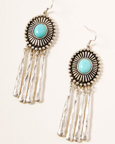 Idyllwind Women's Gimme More Concho Earrings, Silver, hi-res