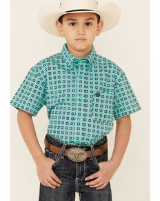Cinch Boys' Turquoise Geo Print Short Sleeve Button-Down Western Shirt , Turquoise, hi-res