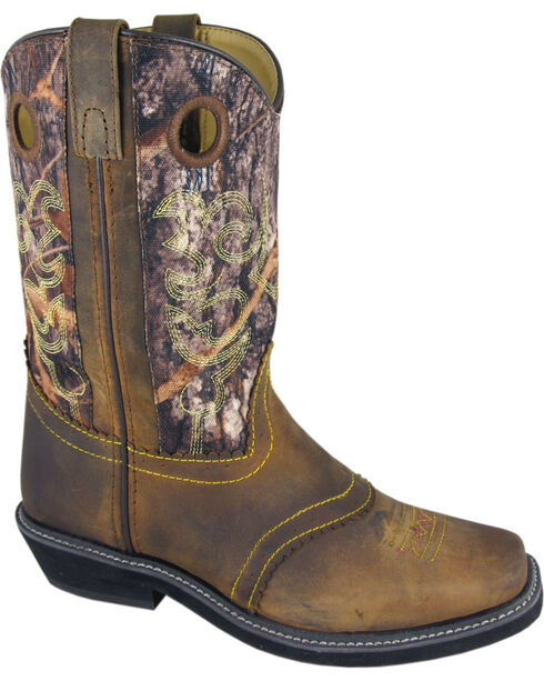 Smoky Mountain Pawnee Camo Cowgirl Boots - Square Toe, Brown, hi-res