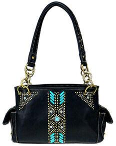 Montana West Women's Aztec Satchel Bag, Black, hi-res