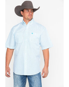 George Strait by Wrangler Men's Turquoise Short Sleeve Western Shirt, Turquoise, hi-res