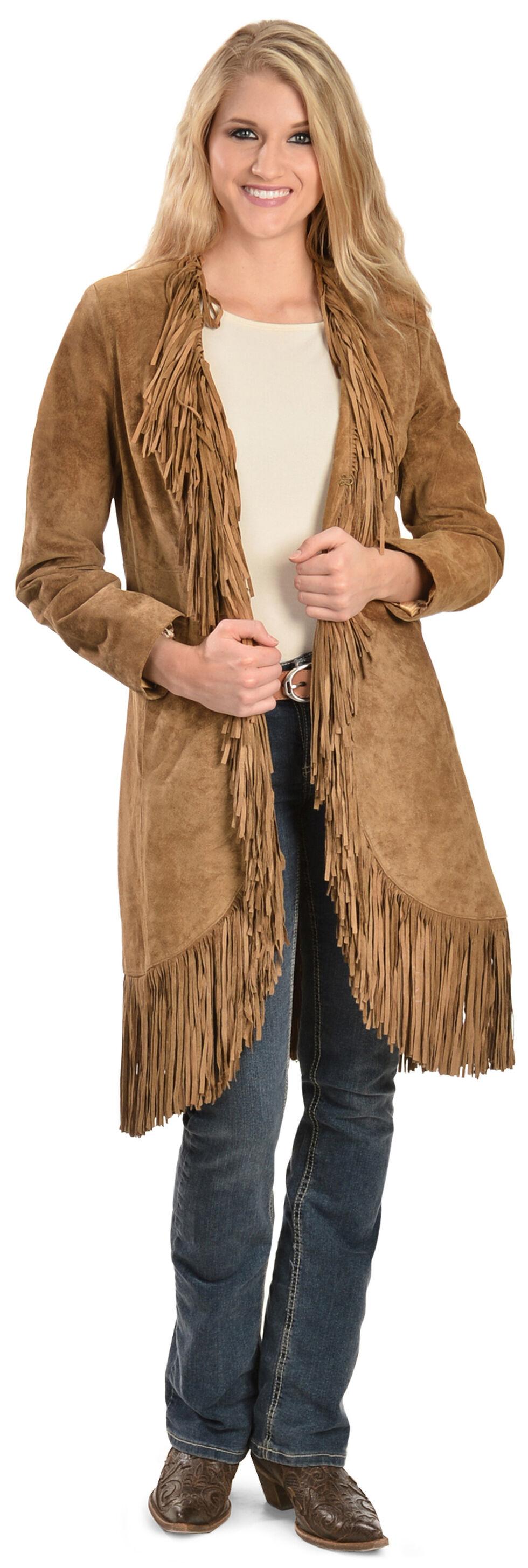 Scully Boar Suede Fringed Maxi Coat, Cinnamon, hi-res