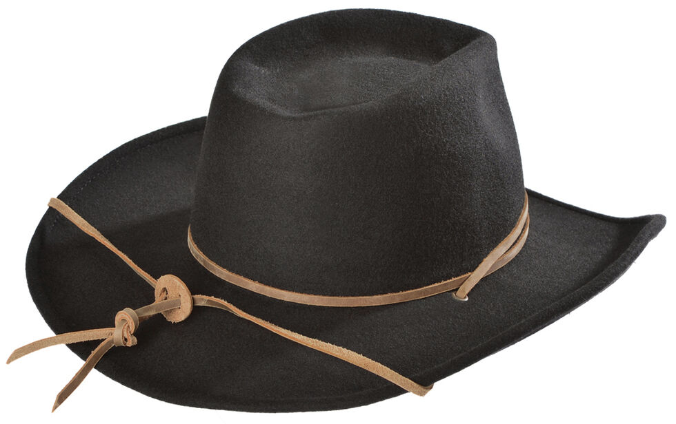Juniper Wool Felt Cowgirl Hat, Black, hi-res