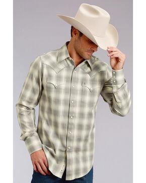Stetson Men's Modern Fit Grey Plaid Long Sleeve Snap Shirt - Big & Tall, Grey, hi-res