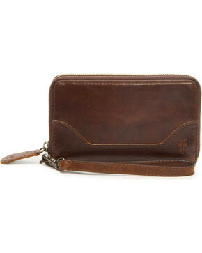 Frye Women's Melissa Zip Phone Wallet , Dark Brown, hi-res