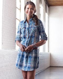 Ryan Michael Women's Indigo Plaid Dress, Indigo, hi-res