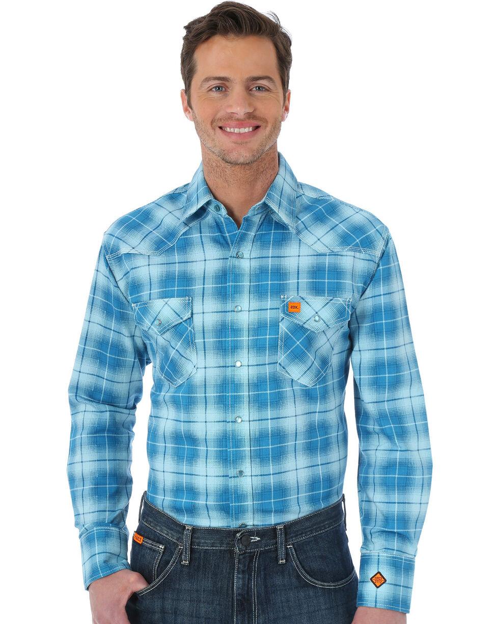 Wrangler Men's Teal Flame Resistant Fashion Shirt, Teal, hi-res